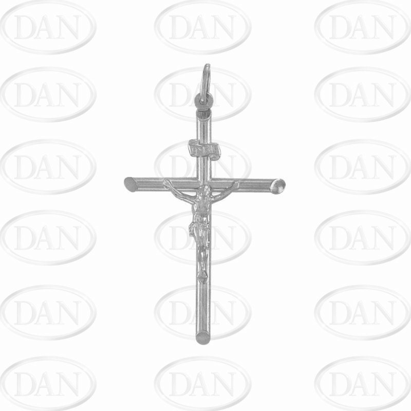 9ct White Gold Plain Hollow Crucifix Cross Pendant
