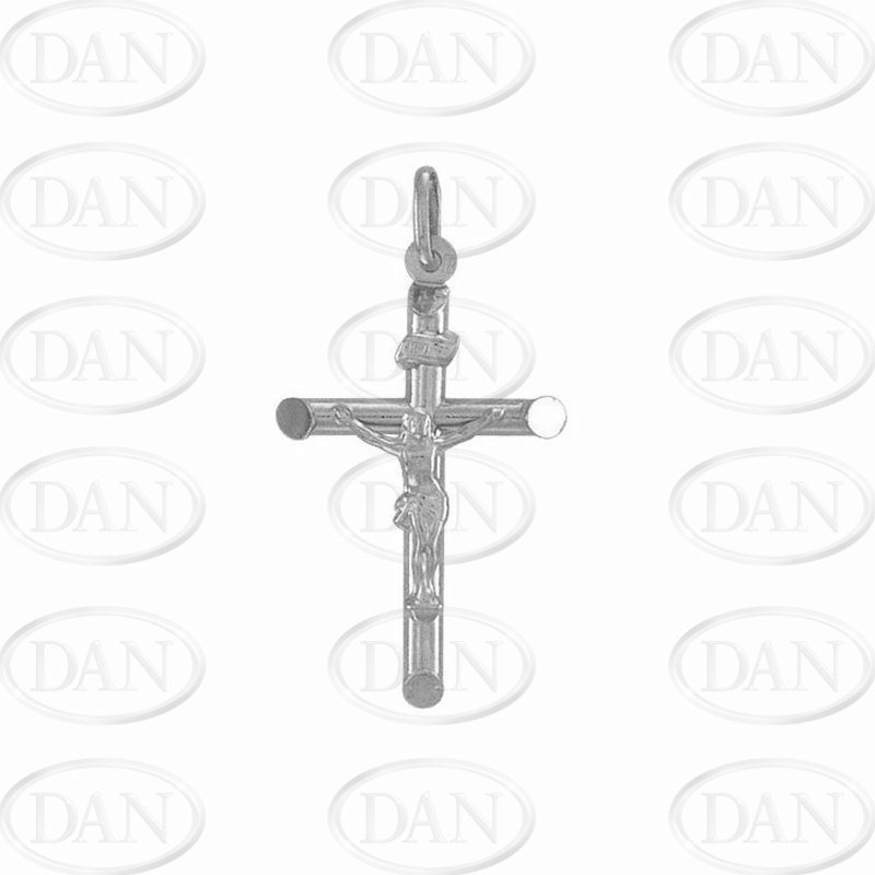 9ct White Gold Plain Hollow Crucifix Cross Pendant