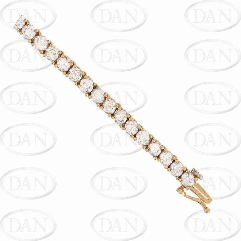 18ct Yellow Gold 10.00ct Diamond Tennis Ladies Bracelet