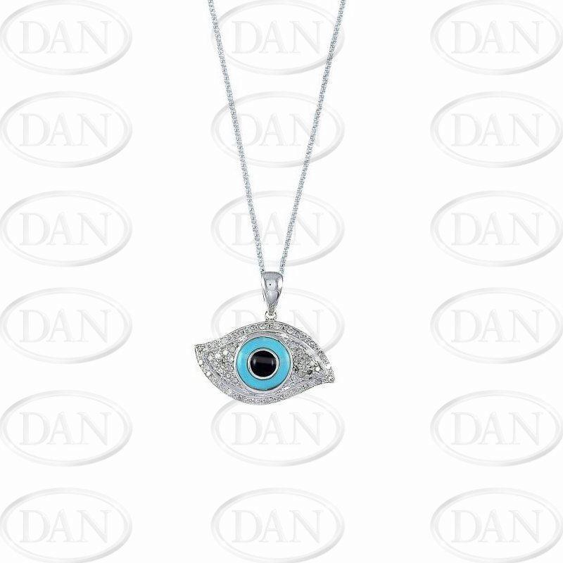 Diamond, Ox & Tq Evil Eye Pendant