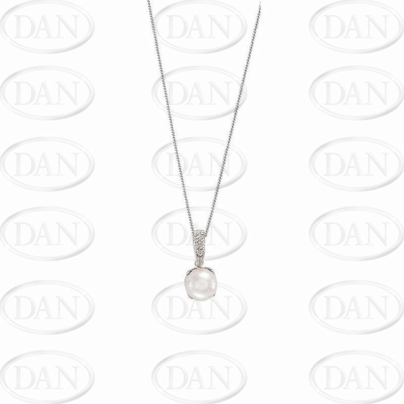 Diamond & Pearl Pendant & Chain