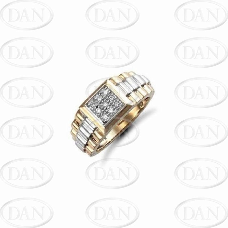 0.15Ct Diamond Gents Brickwork Ring