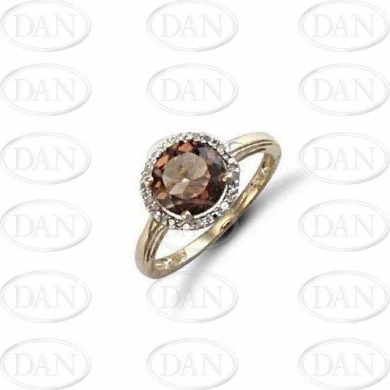 Diamond & Smq Ring 9ct Yellow
