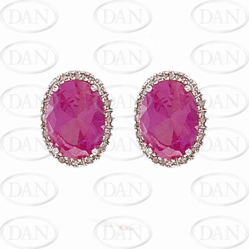 9ct WG Diamond & Created Pink Sapphire Oval Earrings