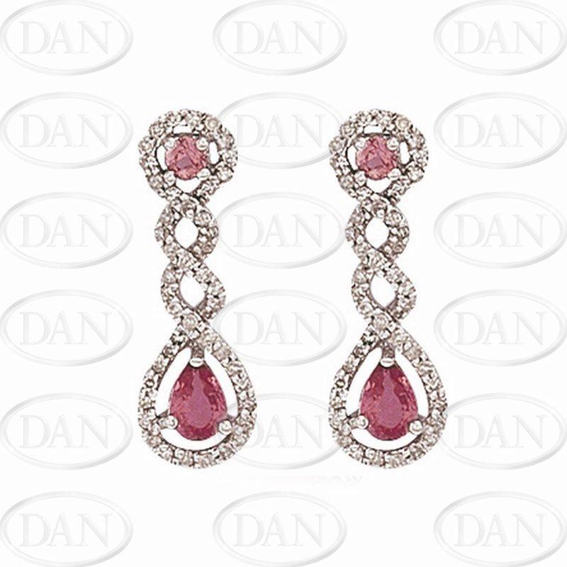 Diamond & Pink Sapphire Twist Drop Earrings