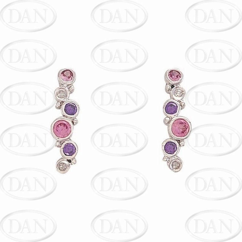 9ct White Gold Diamond, Pink & Purple CZ  Bubbles Earrings