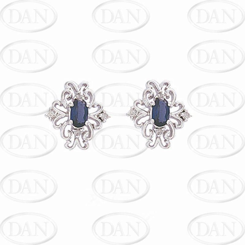 9ct White Gold Diamond & Created Sapphire Filigree Stud Earrings