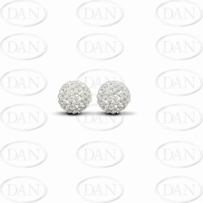 9ct Yellow Gold 10mm White Crystal Stud Earrings