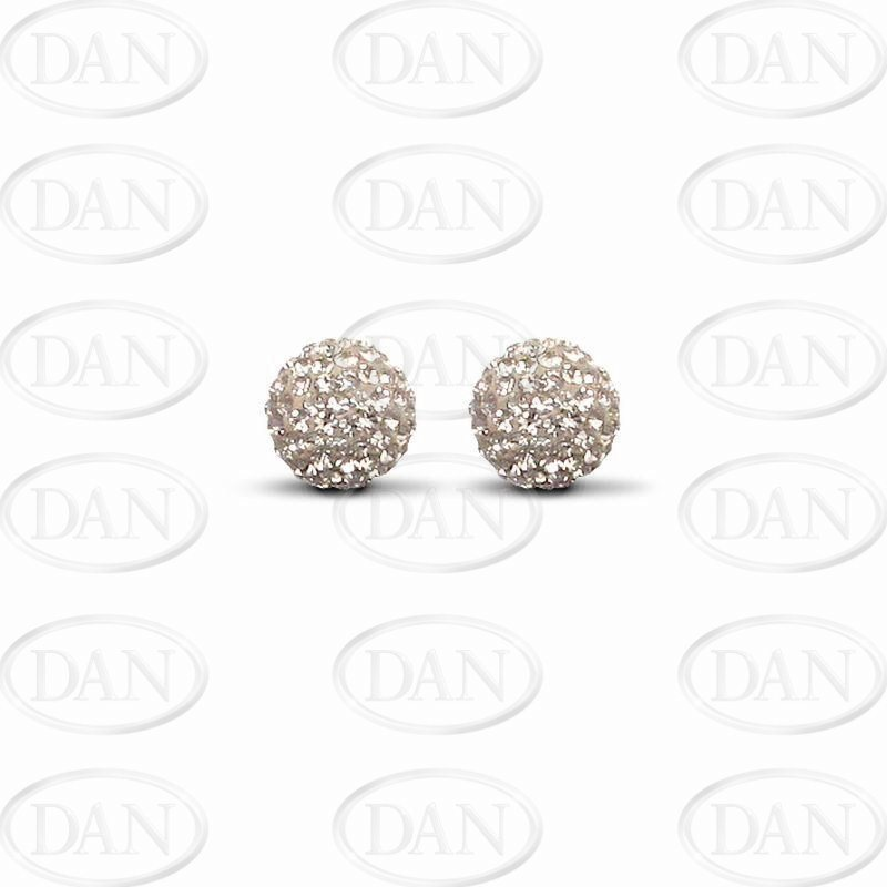 9ct Yellow Gold 10mm Champagne Crystal Stud Earrings