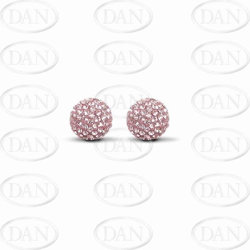 9ct Yellow Gold 10mm Pink Crystal Stud Earrings