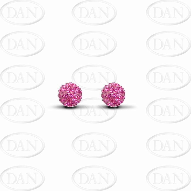 9ct Yellow Gold 7.5mm Fuchsia Pink Crystal Stud Earrings