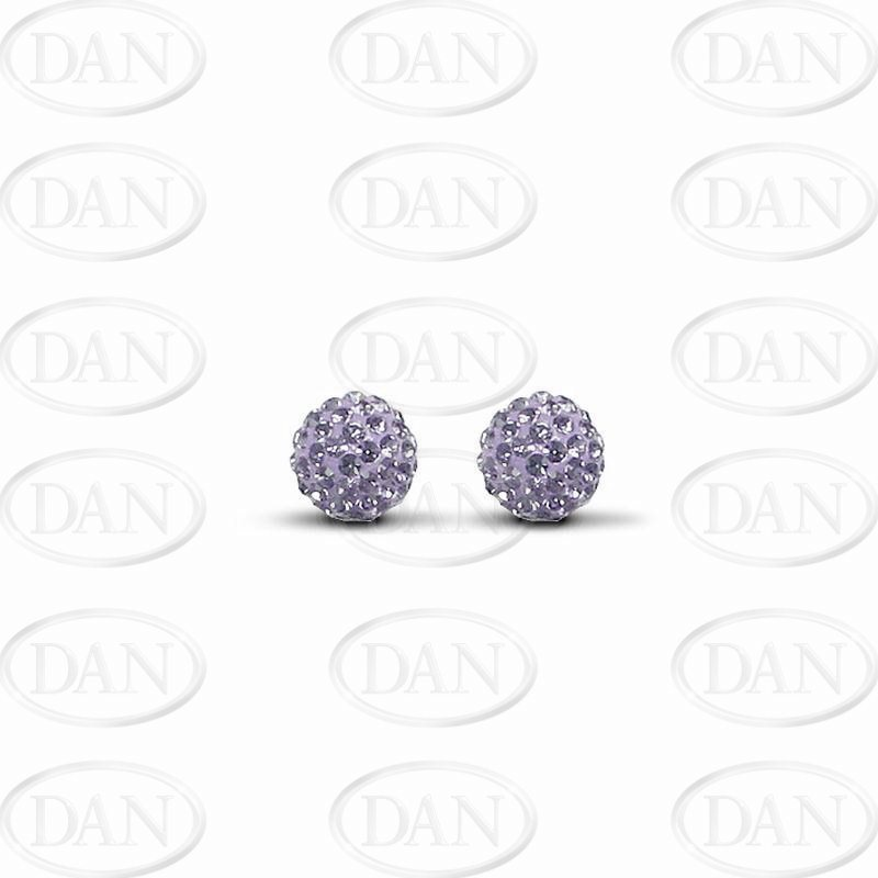 9ct Yellow Gold 7.5mm Lilac Purple Crystal Stud Earrings