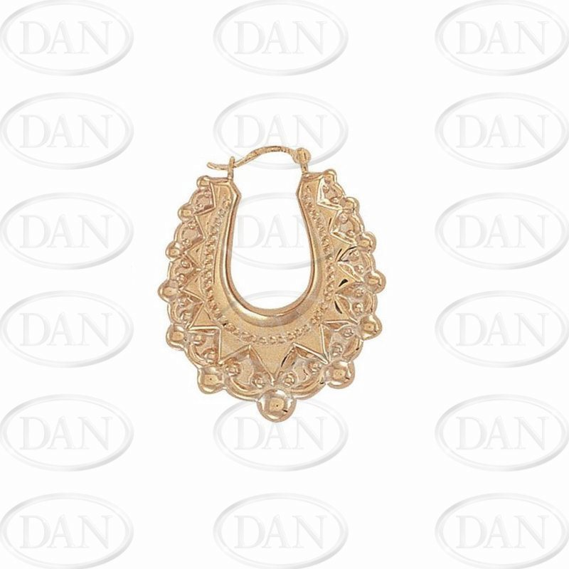 9ct Yellow Gold Oval Creole Spike Earrings