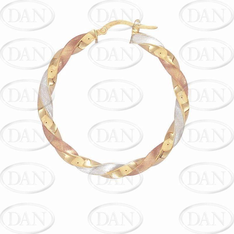 76c44994afc6a Twist Hoops: 9ct Three Colour Gold Satin Twist Hoop Earrings