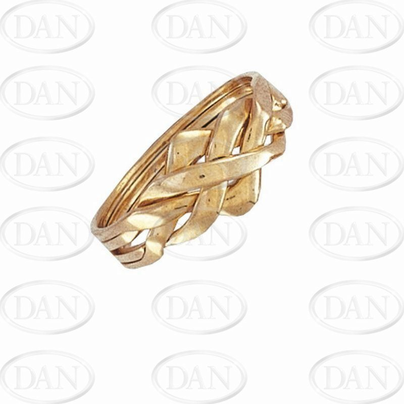 Gents Yellow Puzzle Ring 4 Piece