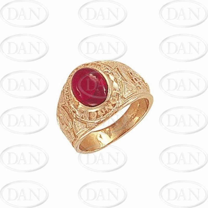 9ct YG Red Cabochon Cz College Kids Ring