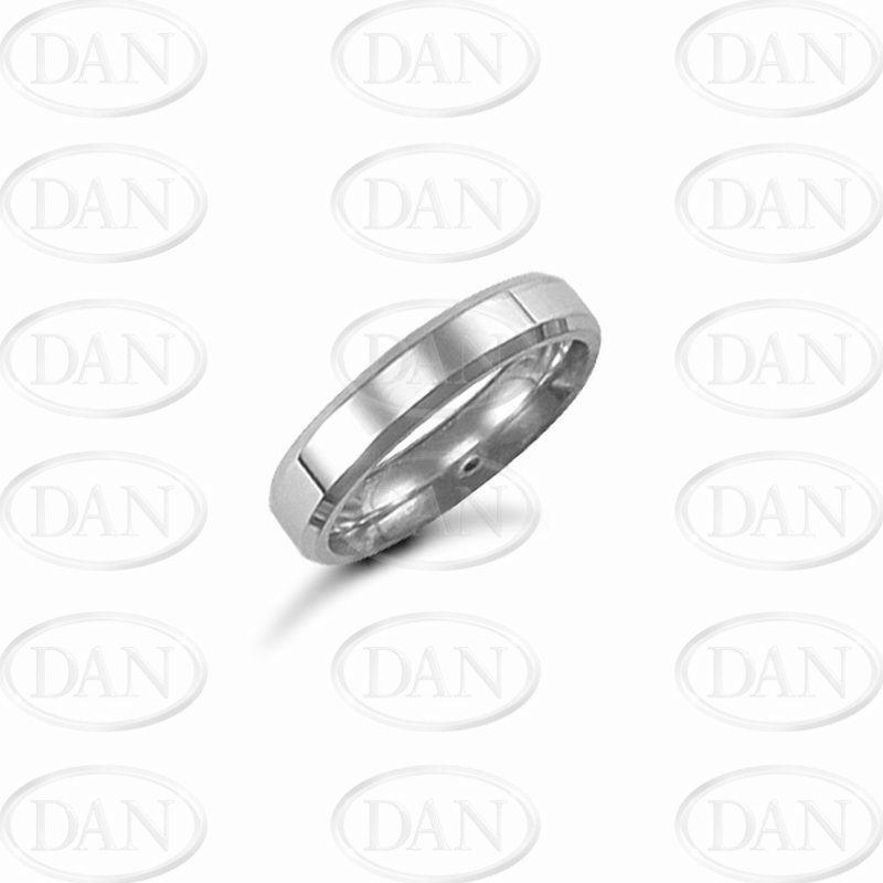 4mm Plain Bevel Wedding Ring 9ct White