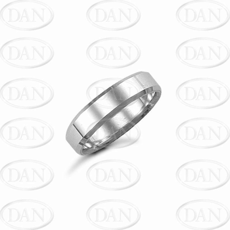 5mm Plain Bevel Wedding Ring 18ct White