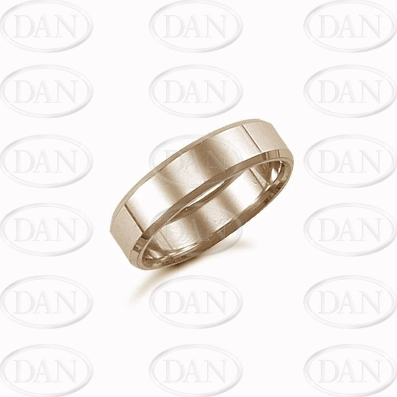 6mm Plain Bevel Wedding Ring 18ct Yellow
