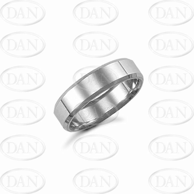 6mm Plain Bevel Wedding Ring 9ct White