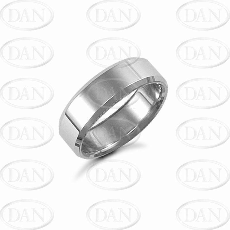 7mm Plain Bevel Wedding Ring 9ct White