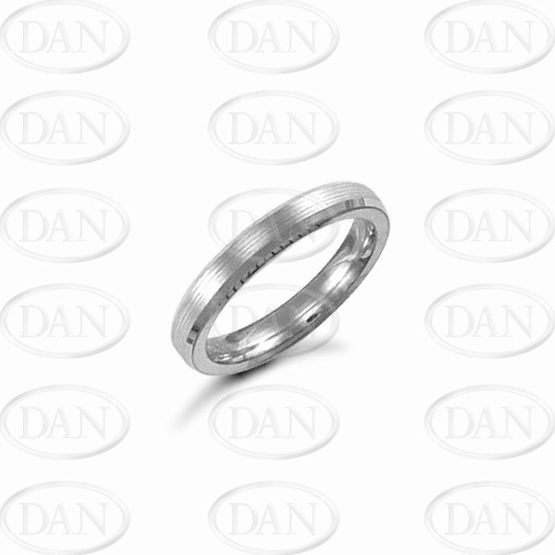 3mm Satin Bevel Wedding Ring 18ct White