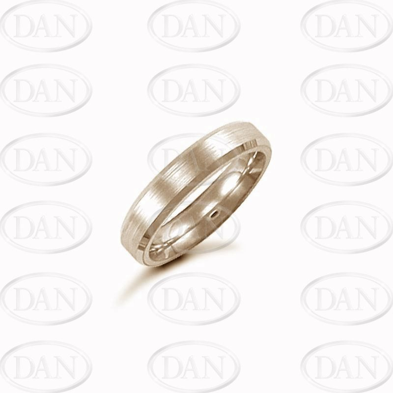 4mm Satin Bevel Wedding Ring 18ct Yellow