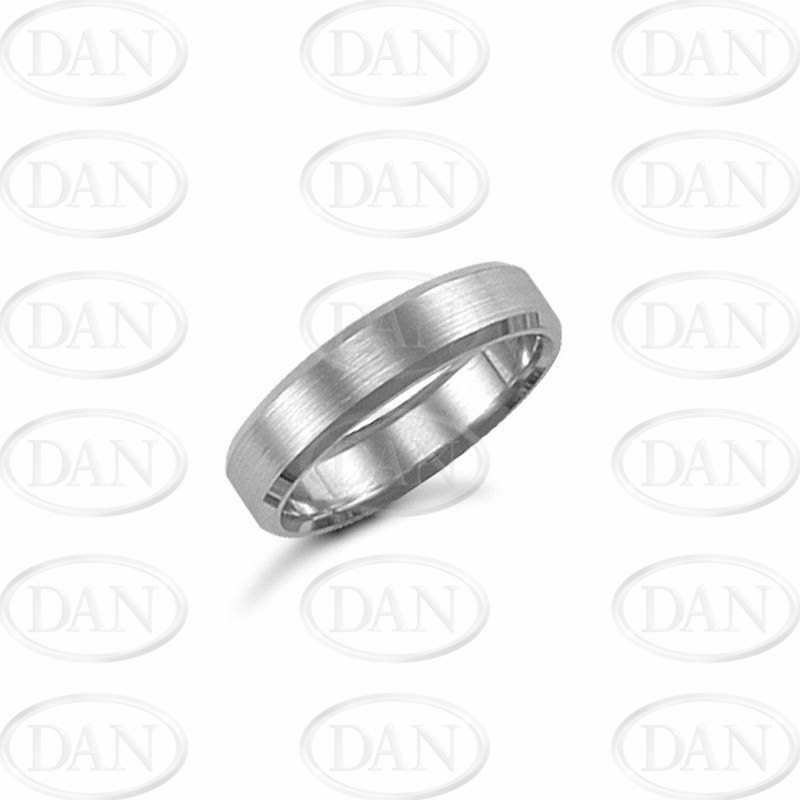 5mm Satin Bevel Wedding Ring 9ct White