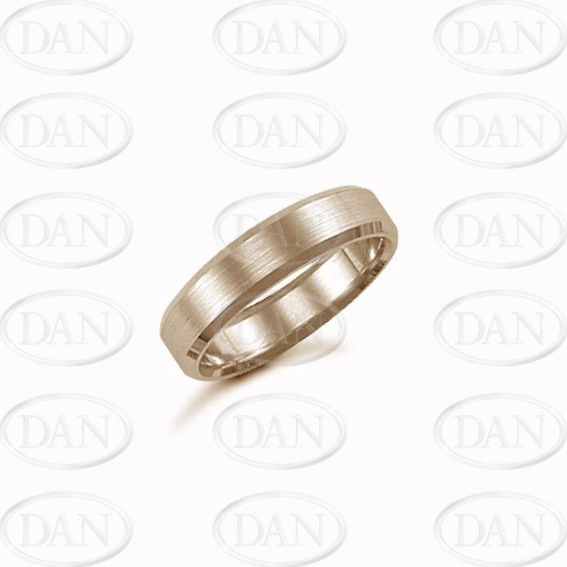 5mm Satin Bevel Wedding Ring 9ct Yellow