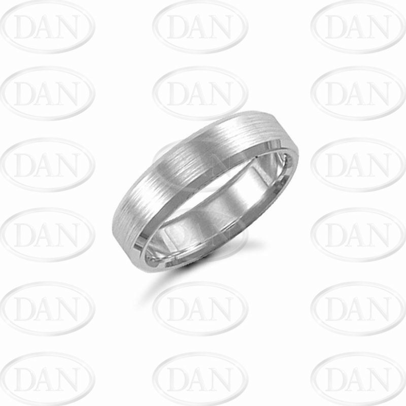 6mm Satin Bevel Wedding Ring 18ct White