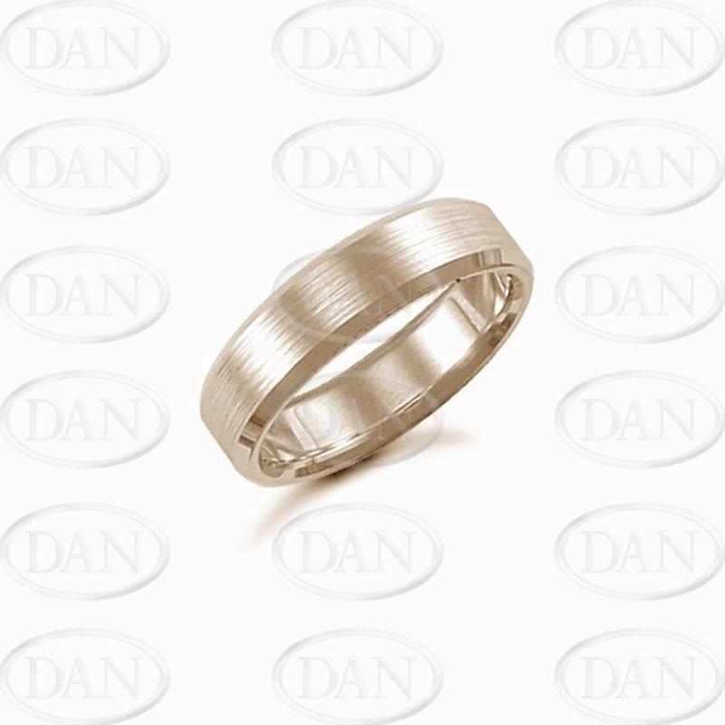6mm Satin Bevel Wedding Ring 9ct Yellow