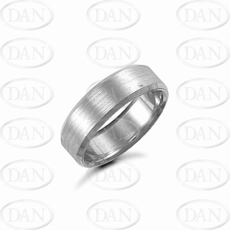 7mm Satin Bevel Wedding Ring 9ct White