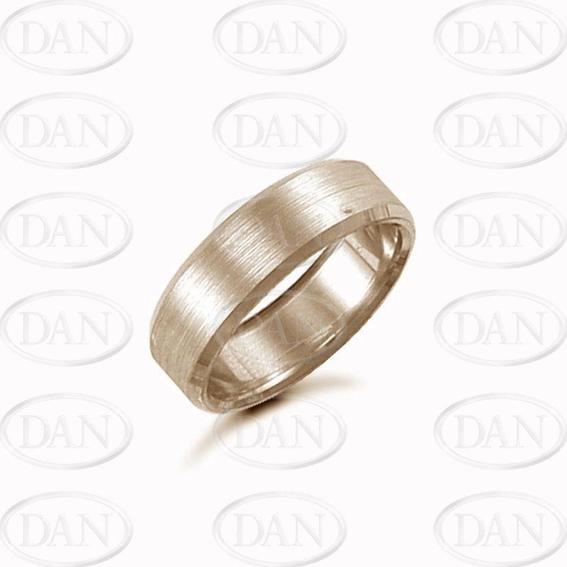 7mm Satin Bevel Wedding Ring 9ct Yellow