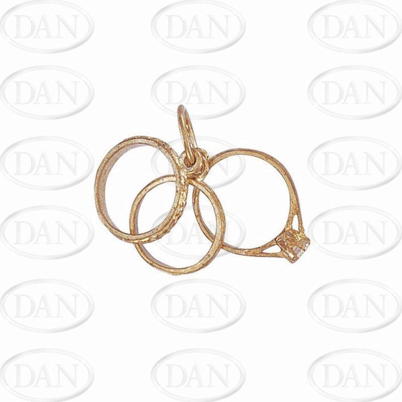 9ct Yellow Gold CZ Triple Ring Pendant