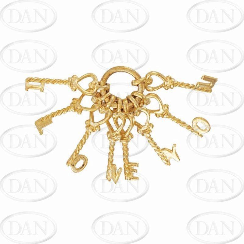 9ct Yellow Gold 'I Love You' Keys Charm Pendant