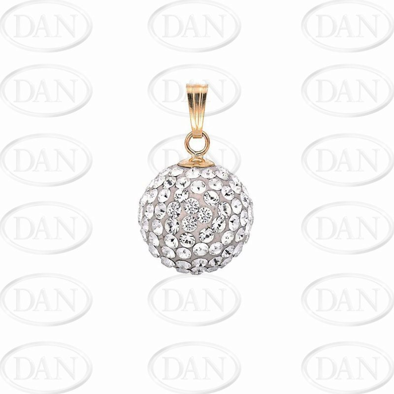9ct Yellow Gold 11.5mm White Crystal Ball Pendant