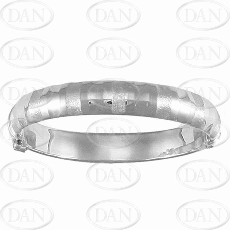 Fancy Hinged Baby Bangle Silver