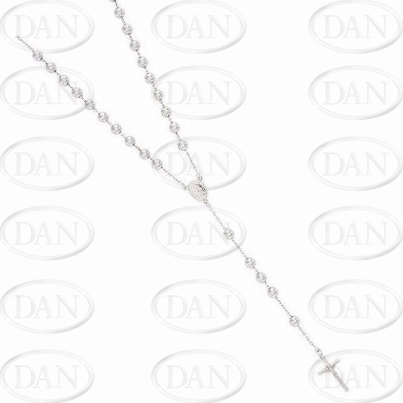 Sterling Silver Rosary Bead Chain with Madonna