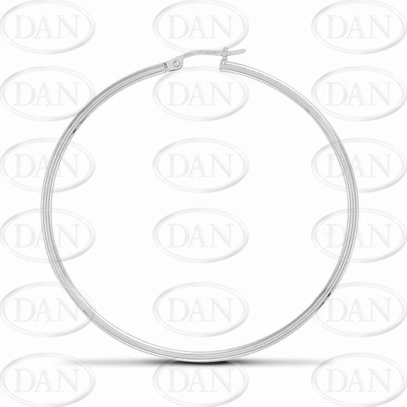 Sterling Silver Thin Hoop Earrings - 50mm