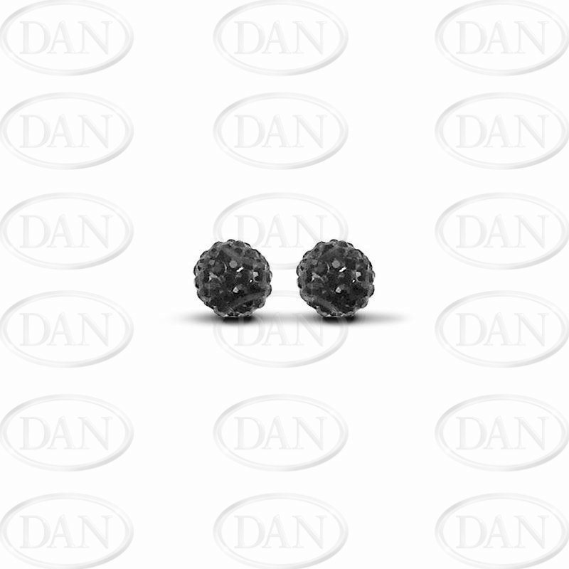 Black Crystal 8mm Ball Studs