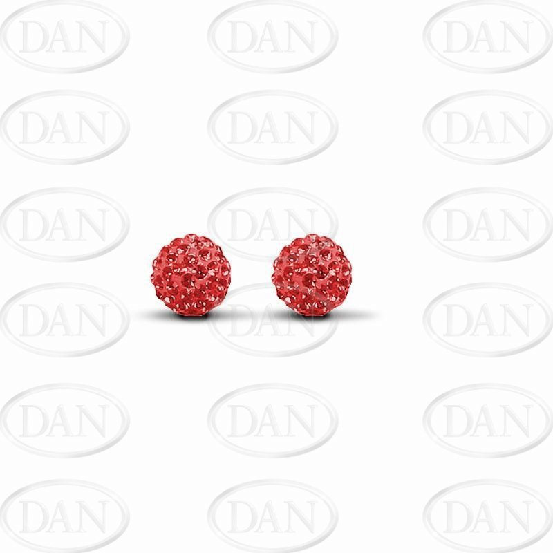 Red Crystal 8mm Ball Studs