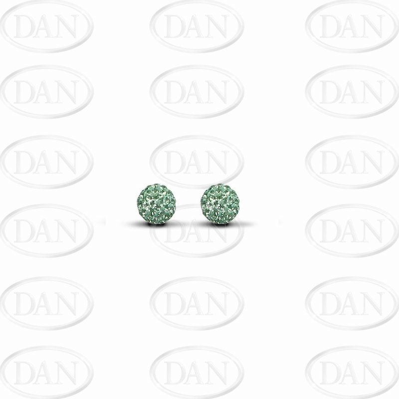 Sterling Silver 6mm Green Crystal Stud Earrings