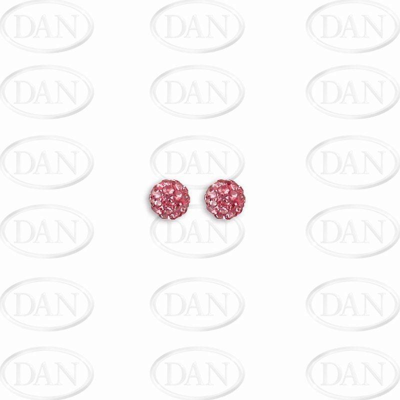 Sterling Silver 6mm Pink Crystal Stud Earrings