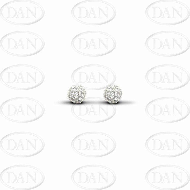 Sterling Silver 6mm White Crystal Stud Earrings
