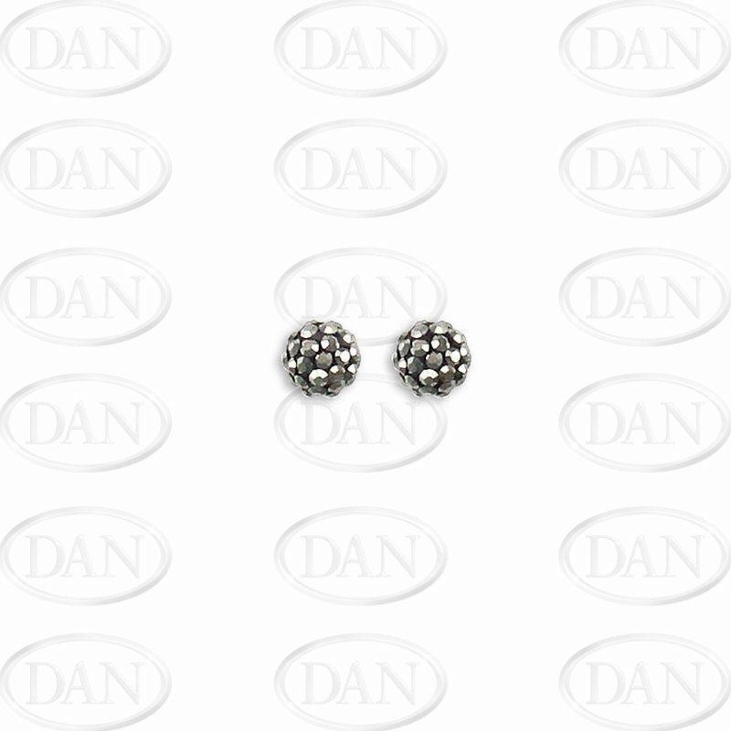 Sterling Silver 6mm Grey Crystal Stud Earrings