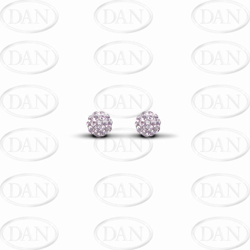 Sterling Silver 6mm Lilac Crystal Stud Earrings