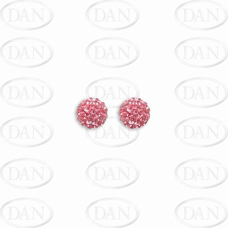 8mm Pink Crystal Silver Studs
