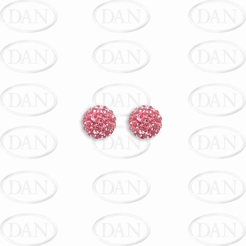 Sterling Silver 8mm Pink Crystal Stud Earrings