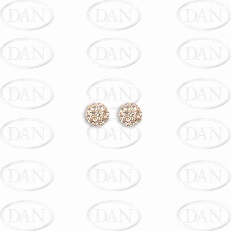 Sterling Silver 6mm Champagne Crystal Stud Earrings