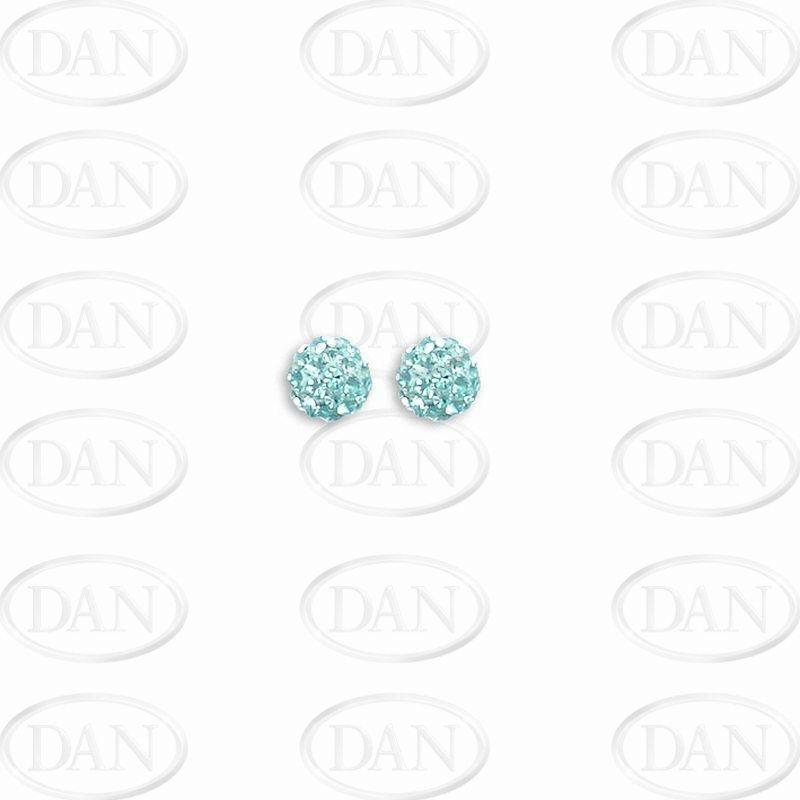 Sterling Silver 6mm Baby Blue Crystal Stud Earrings
